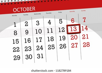Calendar planner for the month, deadline day of week 2018 october, 13, Saturday