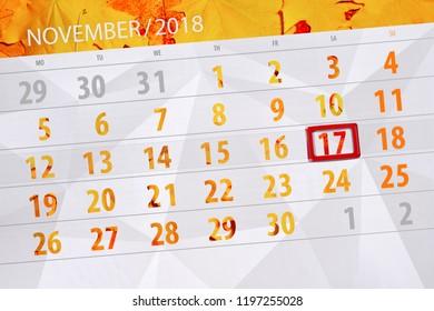 Calendar planner for the month, deadline day of week 2018 november, 17, Saturday