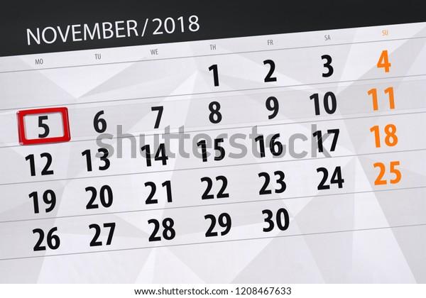 Terminal 5 Calendar.Calendar Planner Month Deadline Day Week Stock Illustration 1208467633