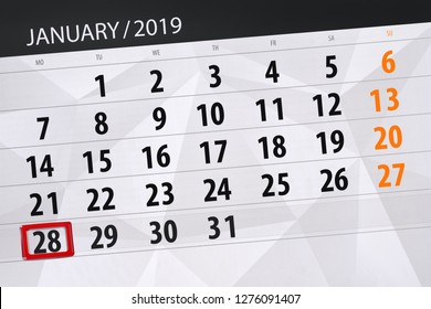 Calendar planner for  month january 2019, deadline day, 28, monday