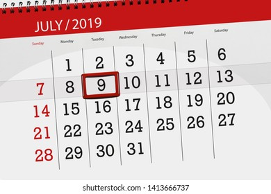 Calendar planner for the month july 2019, deadline day, 9 tuesday.