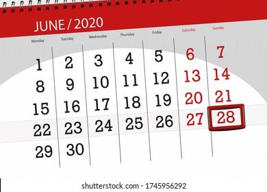 Calendar planner for the month june 2020, deadline day, 28, sunday.