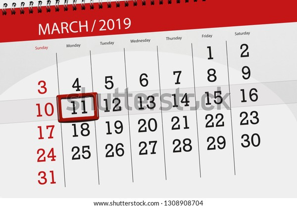Calendar Planner Month March 2019 Deadline Stock