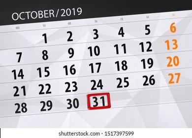 Calendar planner for the month october 2019, deadline day, 31, thursday.