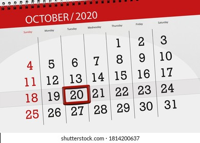 Calendar planner for the month october 2020, deadline day, 20, tuesday.
