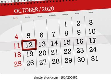 Calendar planner for the month october 2020, deadline day, 12, monday.