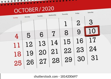 Calendar planner for the month october 2020, deadline day, 10, saturday.