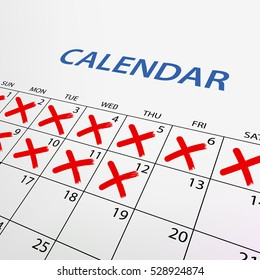 Calendar with red marks. Stock illustration.
