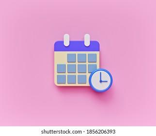 Symbol Kalender Zeitplan einzeln. minimales Design. 3D-Rendering