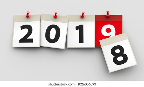 Calendar sheets with red pin and numbers 2019 on grey background represent start new year 2019, three-dimensional rendering, 3D illustration