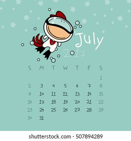 Calendar for the year 2017 - July (raster version)
