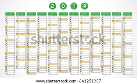 Calendar Year 2019 One Page Green Stock Illustration 641251957