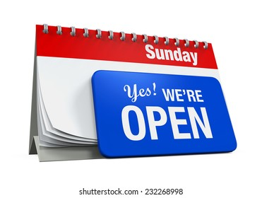 """Calender with """"Yes We're Open Sign"""""""