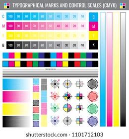 Calibration printing crop marks. CMYK color test document. Illustration of calibration color cmyk