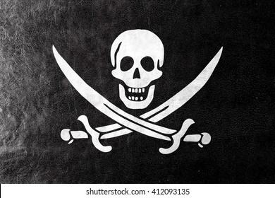 Calico Jack Pirate Flag, painted on leather texture