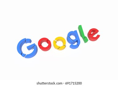 CALIFORNIA - AUGUST 6th: Broken G,o,o,g,l,e letters. Google CEO cuts his vacation because of an anti-diversity scandal sparked by an employee's manifesto. 3D Illustration.