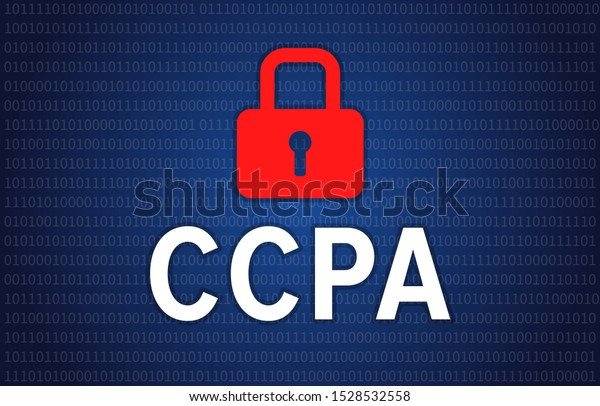 California Consumer Privacy Act or CCPA symbol with lock illustration for editorial and websites