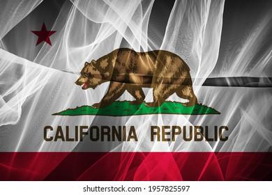 California flag of silk-3D illustration