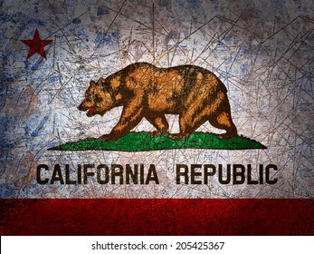 California  flag and wall background
