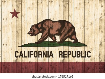 California  flag, wood background