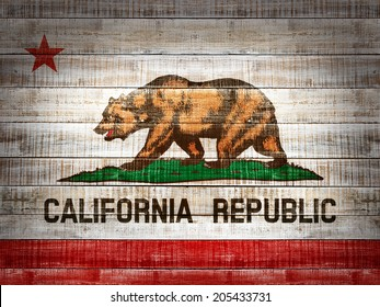 California  flag and wood background