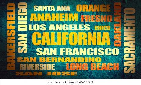 california main cities tags cloud