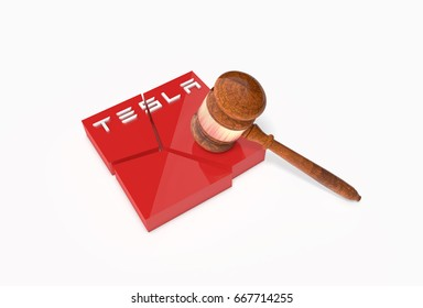 CALIFORNIA - MAY 9, 2017: Collapsed plate with word (logo) Tesla and a judge's hammer (Gavel). Tesla Motors is American electric-automobile manufacturer. 3D Illustration.
