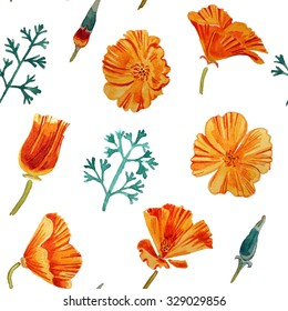 California poppy flowers, watercolor seamless pattern