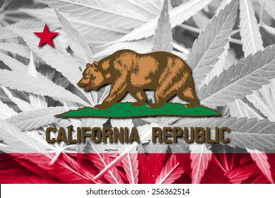 California State Flag on cannabis background. Drug policy. Legalization of marijuana