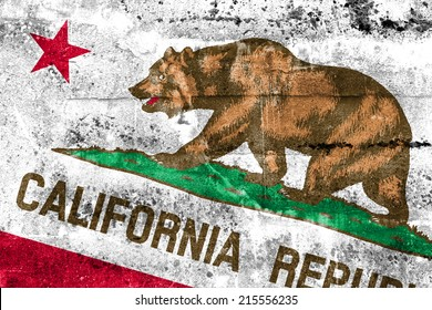 California State Flag painted on grunge wall