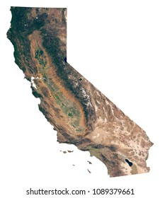 California state satellite image isolated on white background. Isolated map of California (CA). USA state photo from space. Elements of this image furnished by NASA.