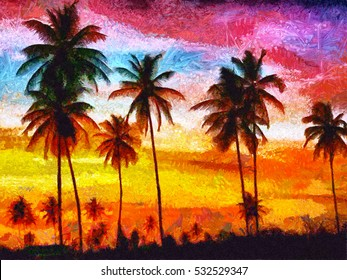 California sunset with palms oil painting