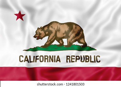 California, United States - November 17, 2018: illustrative editorial California Republic Flag, an American state of United States. Illustration background with copy space.