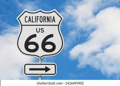 California US route 66 road trip USA highway road sign sign with sky background 3D Illustration