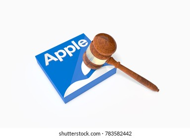 California, USA - Dec. 24th, 2017: Plate with word Apple and judge's hammer. 3D Illustration. Apple faces lawsuits after admitting it slows down ageing iPhones.