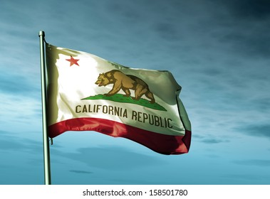 California (USA) flag waving in the evening