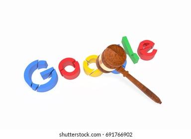 CALIFORNIA, USA - JUNE 27th: Broken G,o,o,g,l and e letters with gavel (Judge's Hammer). EU slaps Google with record $2.7 billion fine. 3D Illustration.