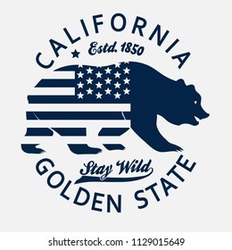 California vintage typography, grizzly Bear print, Design for t-shirt. Golden State Clothing emblem.