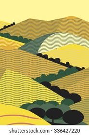 California Yellow Hills Graphic Illustration with Oak trees