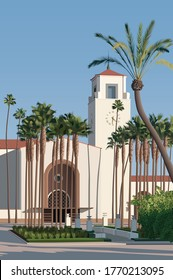Californian Architecture. Union station and palm trees in downtown Los Angeles, California. 3D illustration.