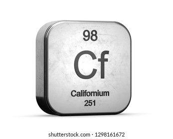 Californium element 98 from the periodic table series. Metallic icon set 3D rendered on white background