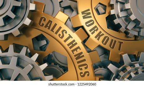 CALISTHENICS WORKOUT concept. Gold and silver gear weel background illustration. 3d Illustration.