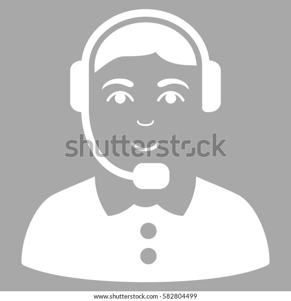 Call Center Operator glyph icon. Flat white symbol. Pictogram is isolated on a silver background. Designed for web and software interfaces.