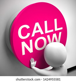 Call now button for contacting help desk using voip. Urgent assistance without delay icon - 3d illustration