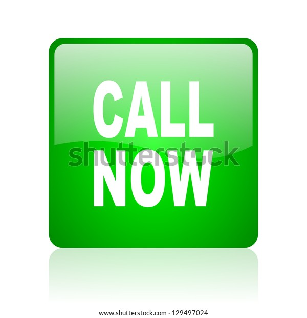 call now green square web icon on white background