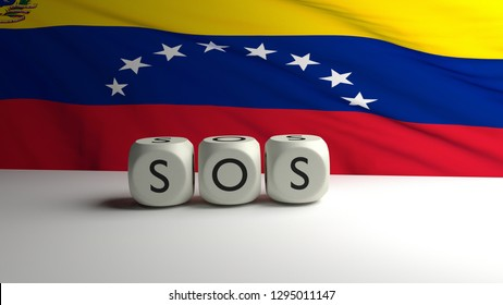 Call for SOS - help from Venezuela because of political and economic crisis. 3D render illustration with word SOS written on dices and flag of Venezuela waving in background.