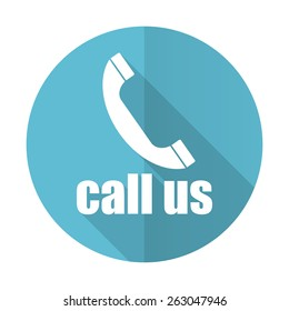 call us blue flat icon phone sign