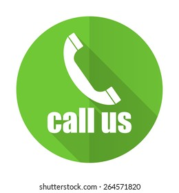 call us green flat icon phone sign