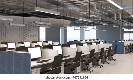 Callcenter office with many computer workplaces (3D Rendering)