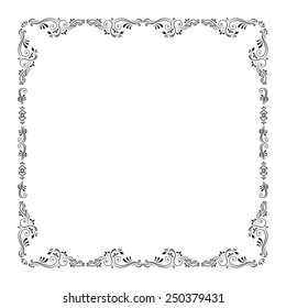 Calligraphic abstract frame on white background . Raster